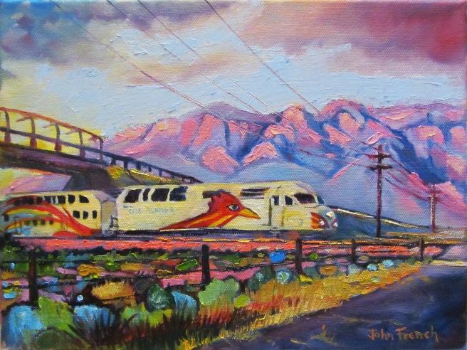 New Mexico art, train, rail runner, sandia mountains,