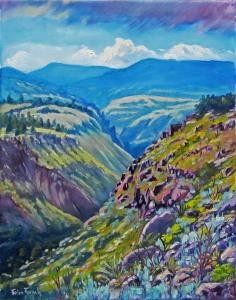 art, painting, New Mexico, landscape, Bandelier