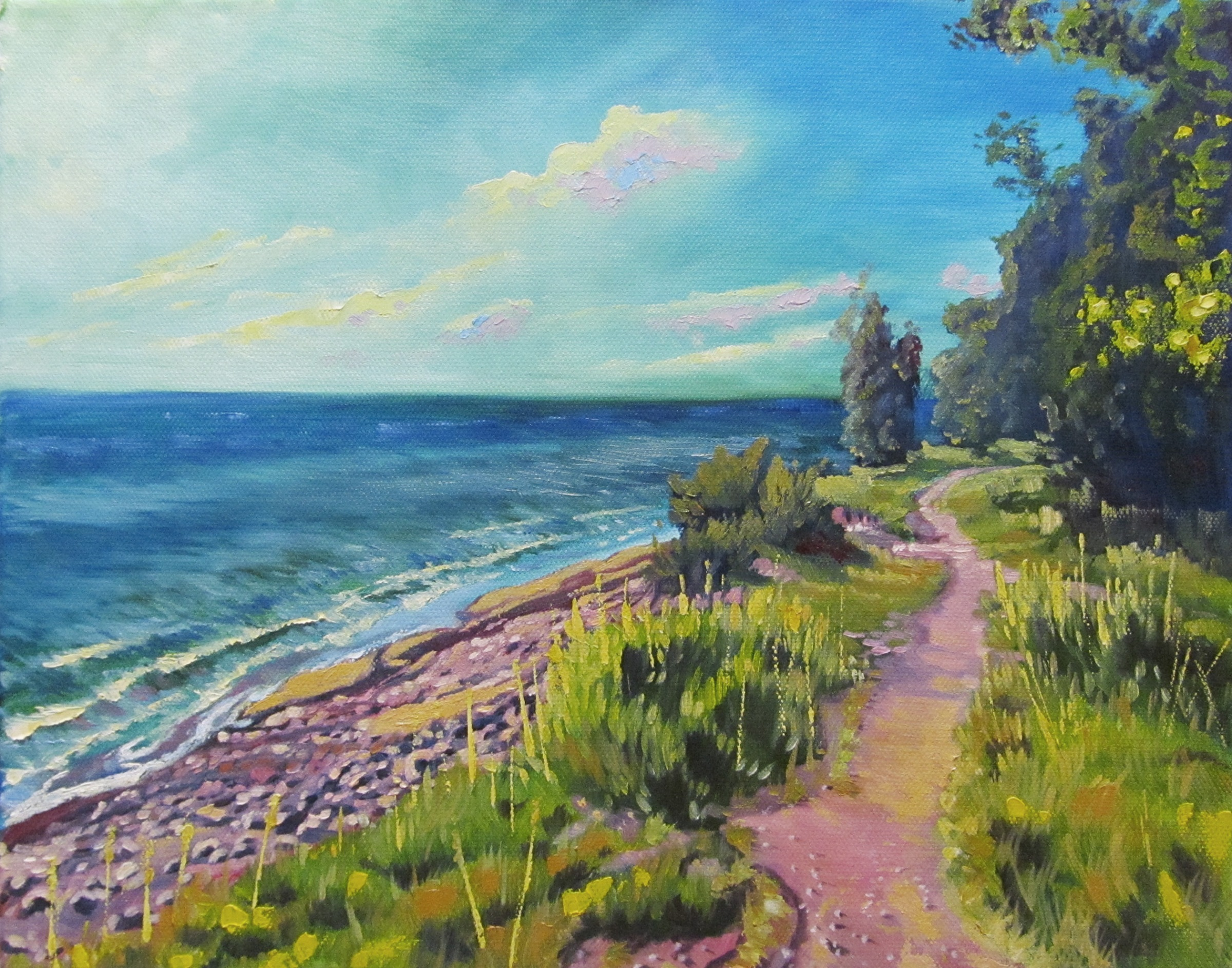 art, painting, oil painting, landscape, Lake Superior, michigan, PINK PATHWAY, 11X14 OIL ON CANVAS FOR SALE, $230