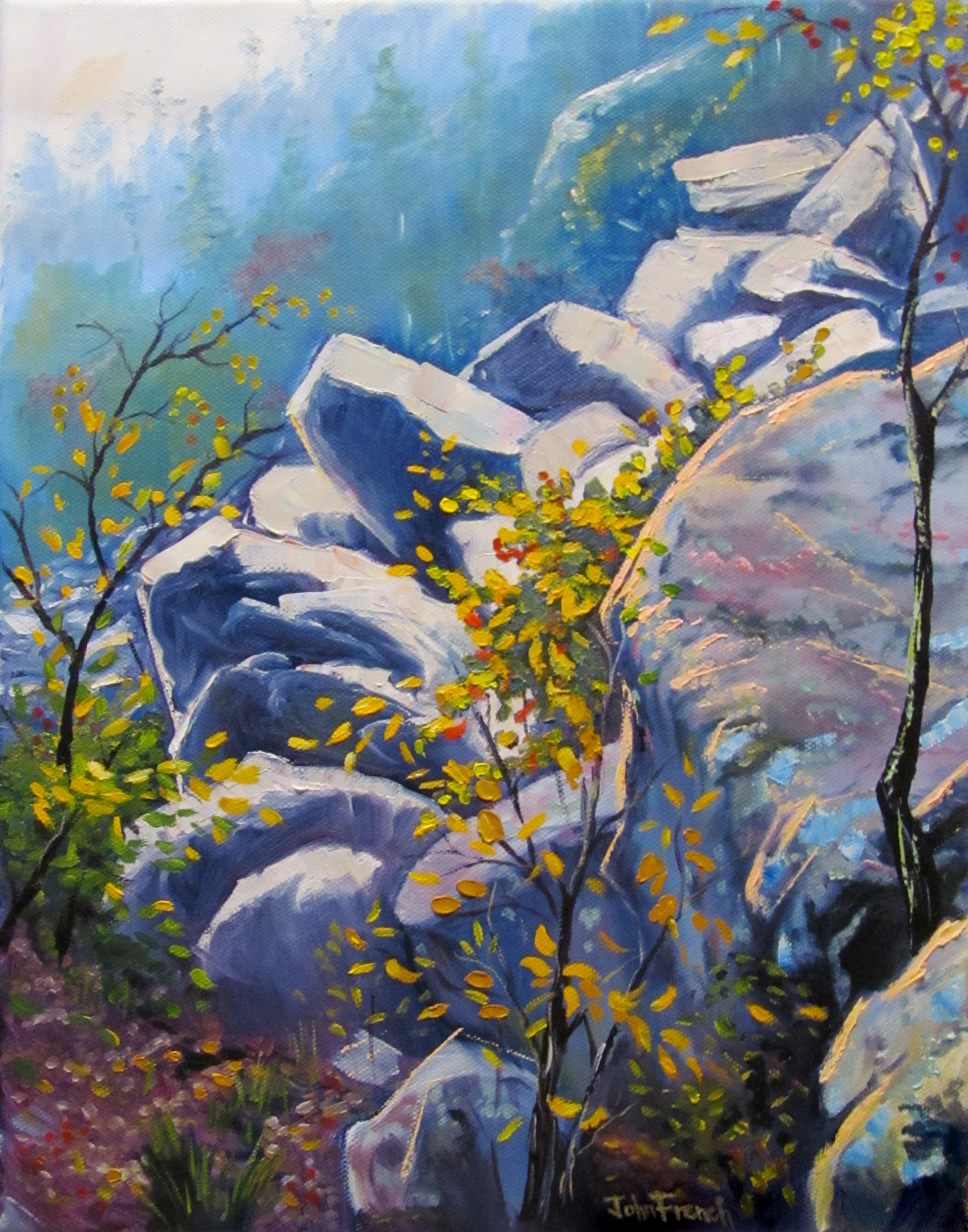 art, oil painting, landscape, hill, boulders, forest