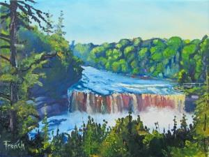 art, oil painting, river, waterfall, Michigan