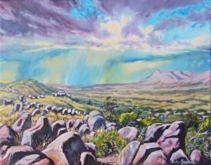 art, oil painting, desert, storm, new mexico