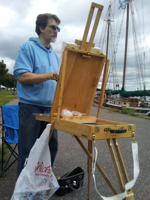 plein air oil painting in marquette, MI