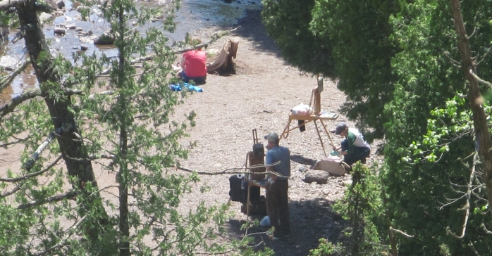 plein air painting with french easel