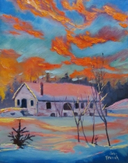 sunset winter painting with blue sky and orange clouds
