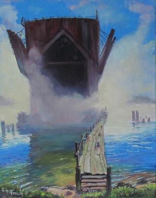 Fog Rolling in Around the Ore Dock, MArquette, MI